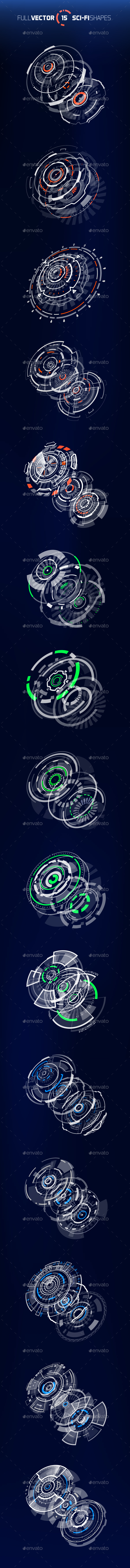 3D Sci-Fi Circle Shapes - Decorative Symbols Decorative