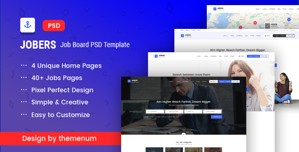 Jobers - Job Board PSD Template - Business Corporate