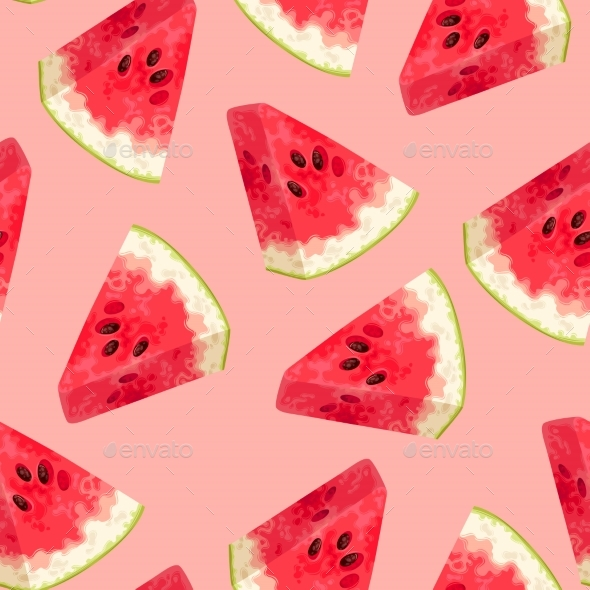 Seamless Background with Watermelons - Food Objects