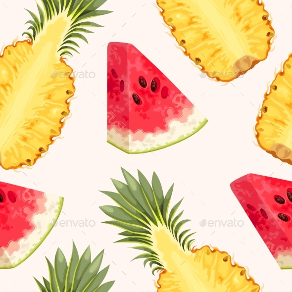 Pineapple and Watermelon Seamless - Food Objects