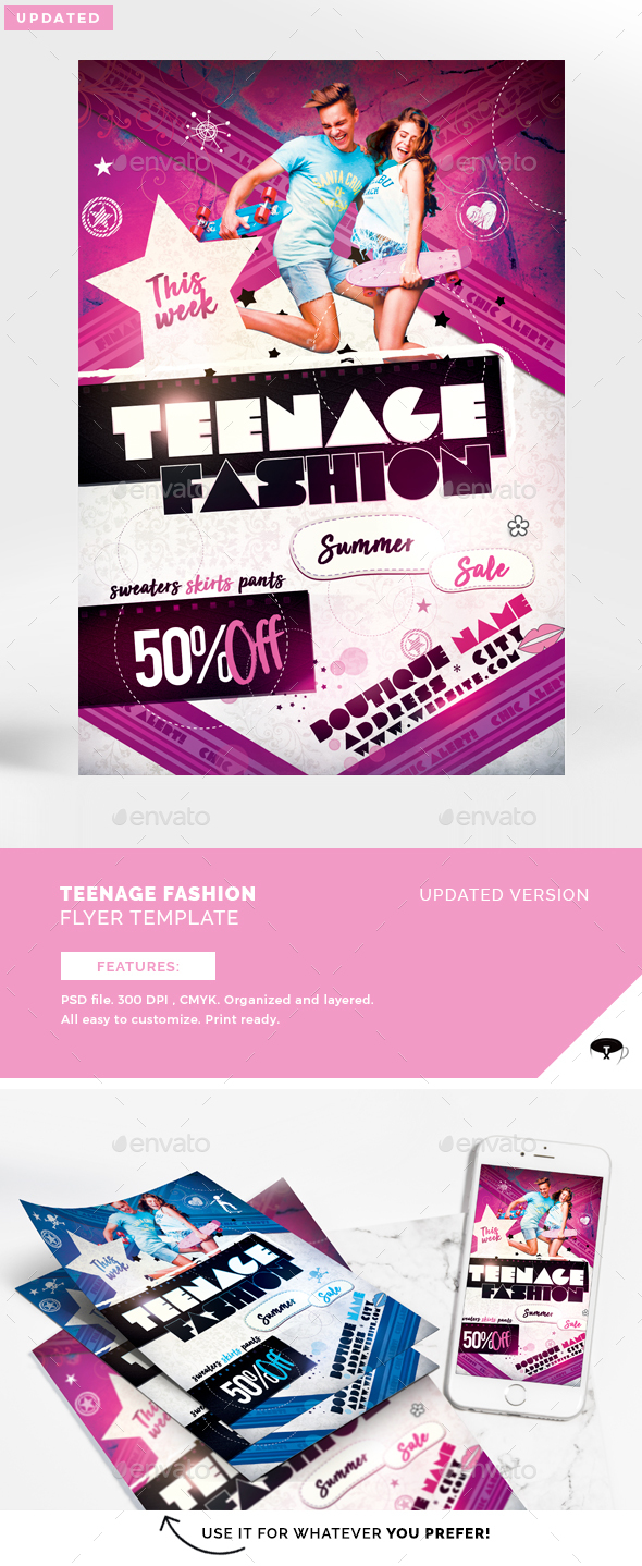 Teenage Fashion Flyer Template - Clubs & Parties Events