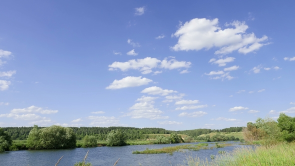 Play preview video - Landscape Against A Blue Sky With White Clouds. Time Interval, By Kenonl