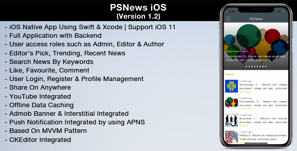 PSNews 1.2 (Multipurpose iOS News Application) - CodeCanyon Item for Sale