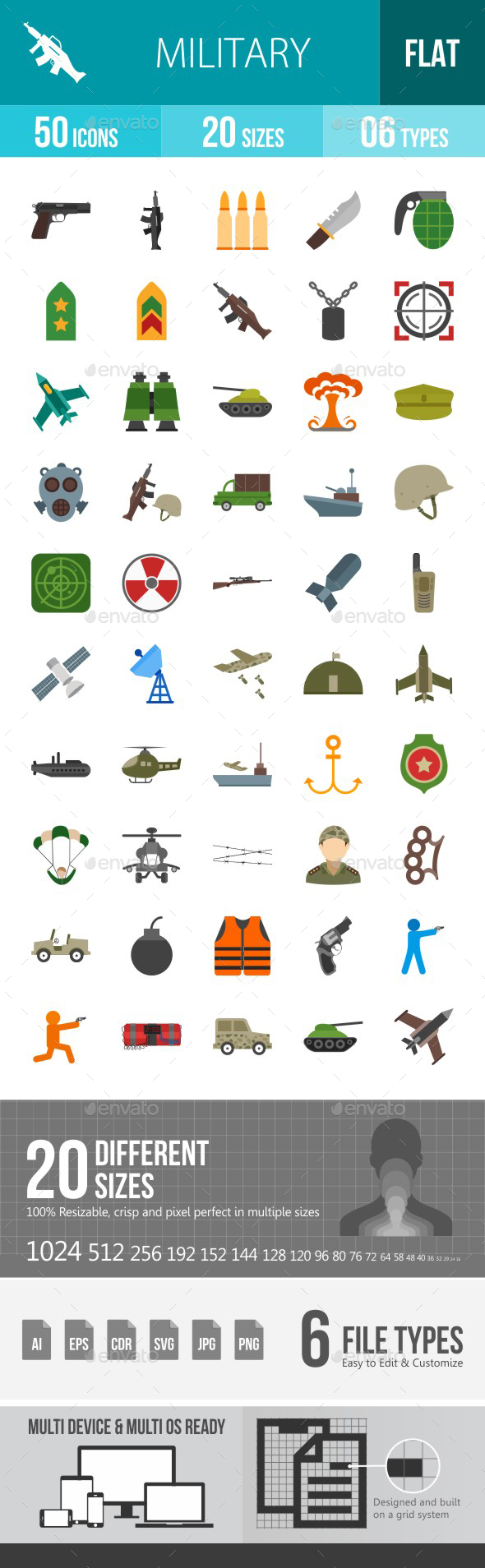 Military Flat Multicolor Icons - Icons