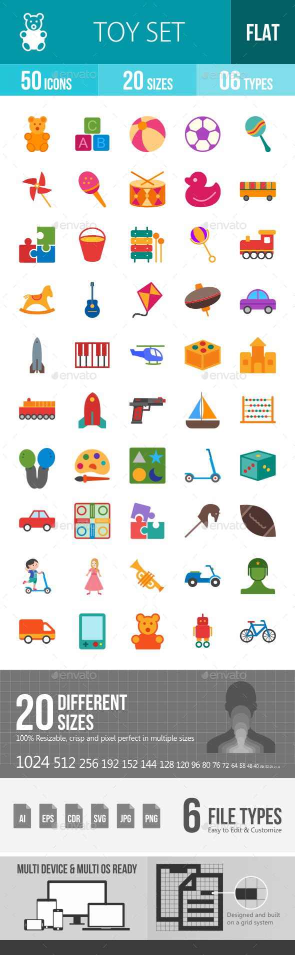 Toys Flat Multicolor Icons - Icons