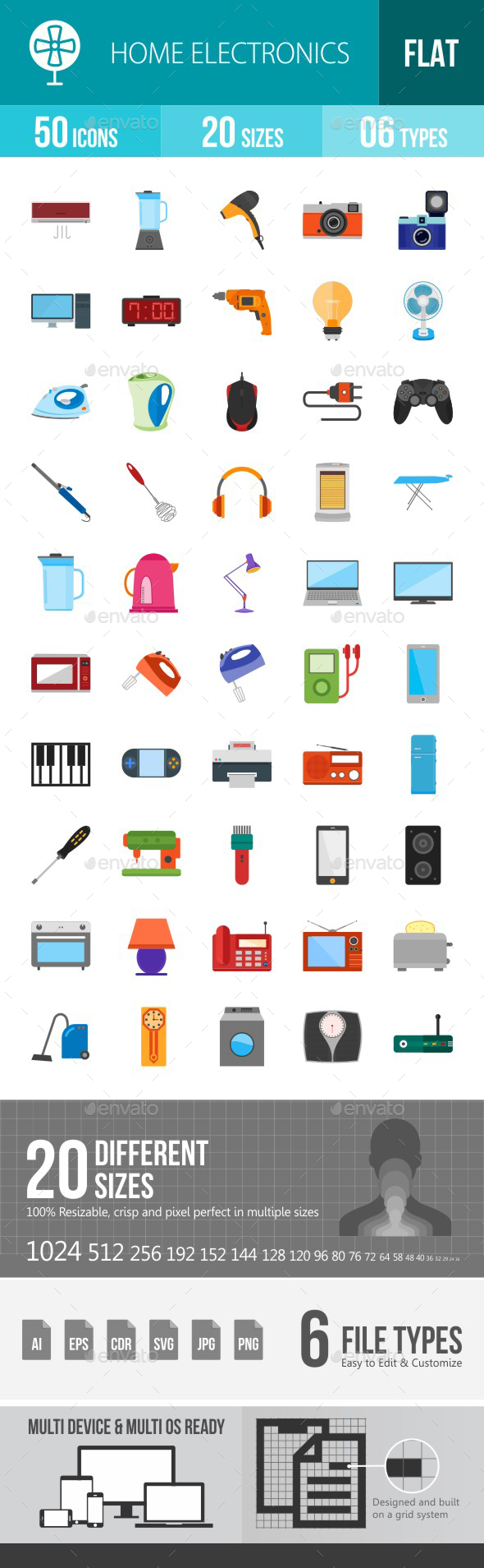 Home Electronics Flat Multicolor Icons - Icons