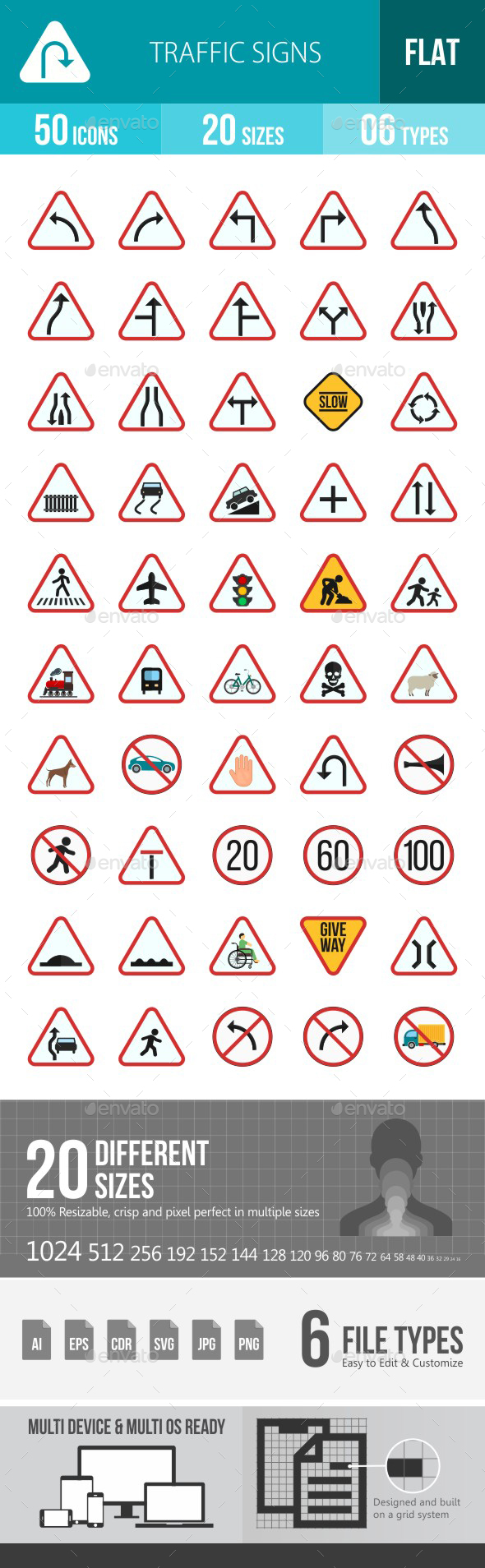 Traffic Signs Flat Multicolor Icons - Icons