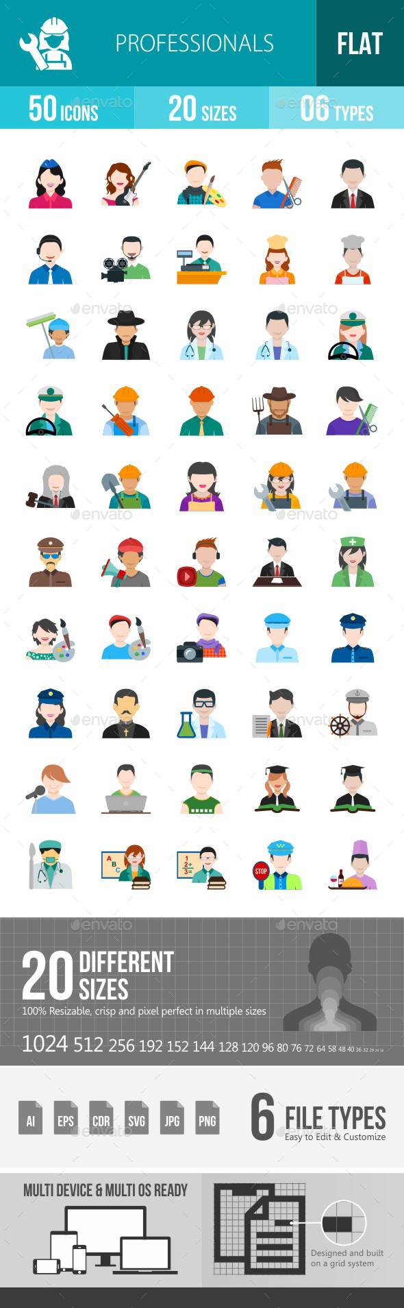 Professionals Flat Multicolor Icons - Icons