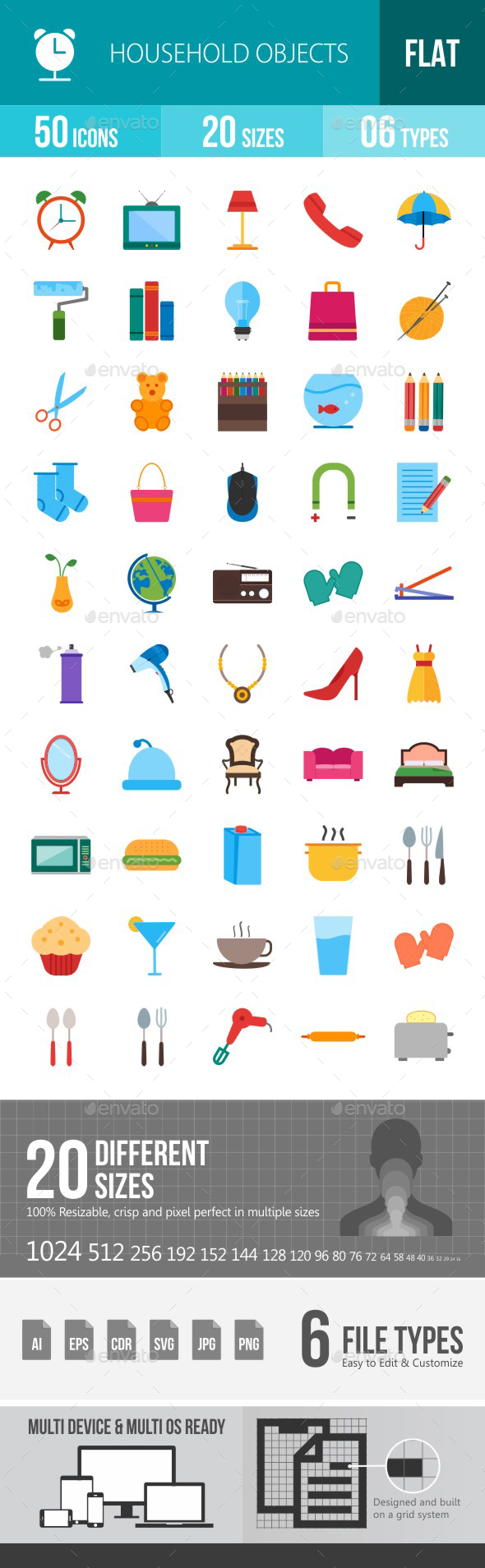 Household Objects Flat Multicolor Icons - Icons