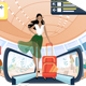 Girl with Luggage at Airport - GraphicRiver Item for Sale