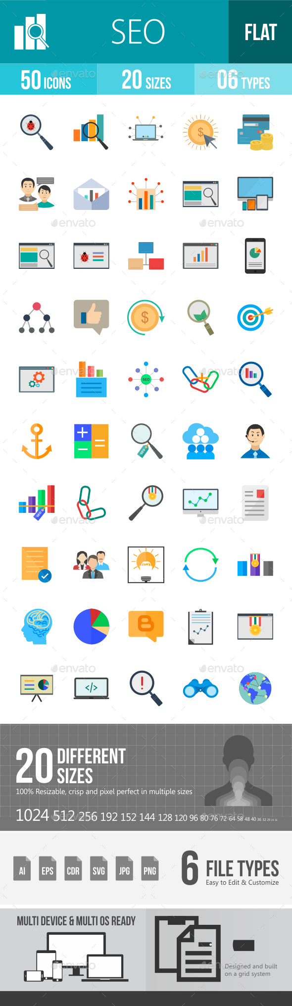 SEO Flat Multicolor Icons - Icons