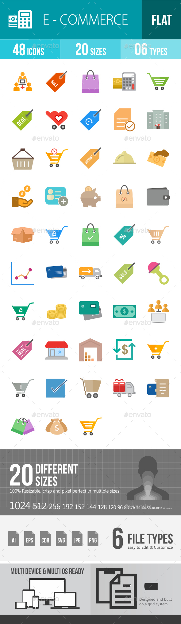 Ecommerce Flat Multicolor Icons - Icons