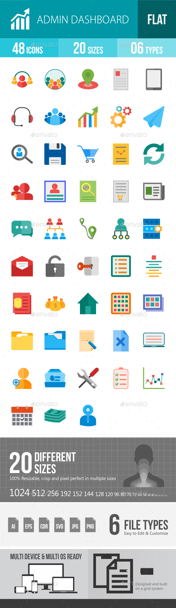 Admin Dashboard Flat Multicolor Icons - Icons