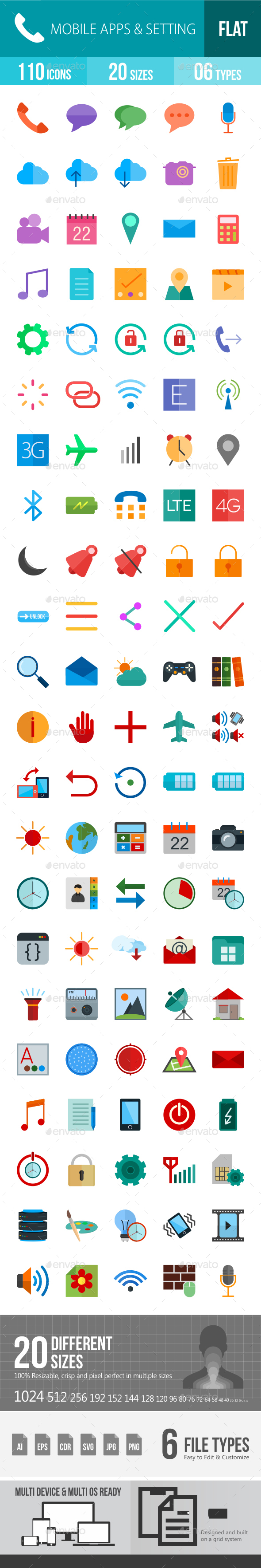 Mobile Apps & Settings Flat Multicolor Icons - Icons