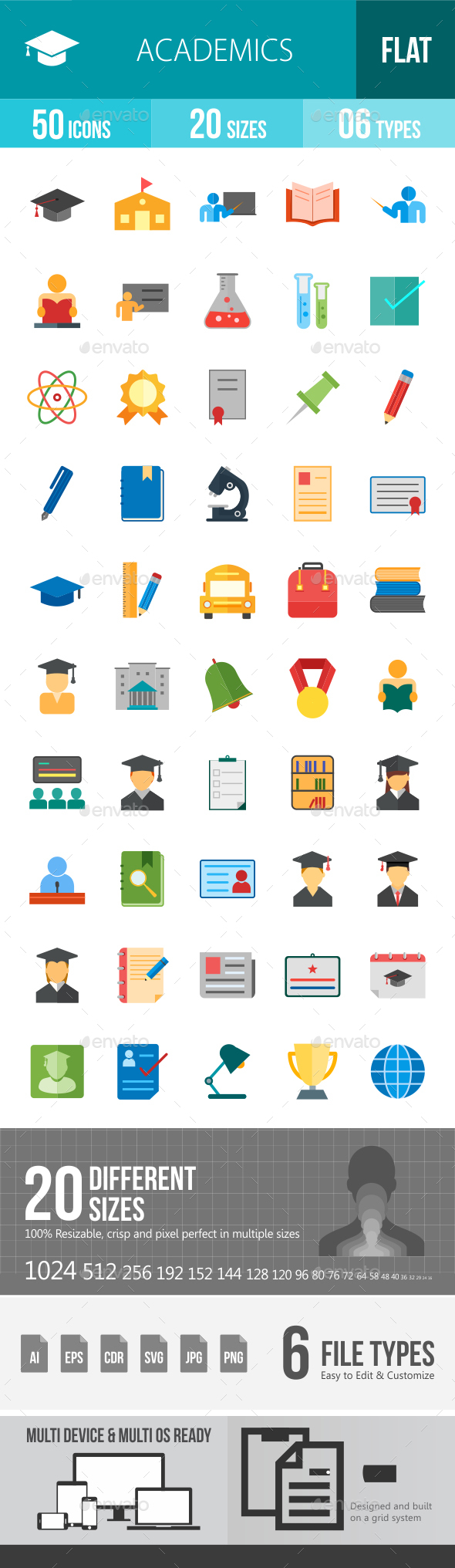 Academics Flat Multicolor Icons - Icons