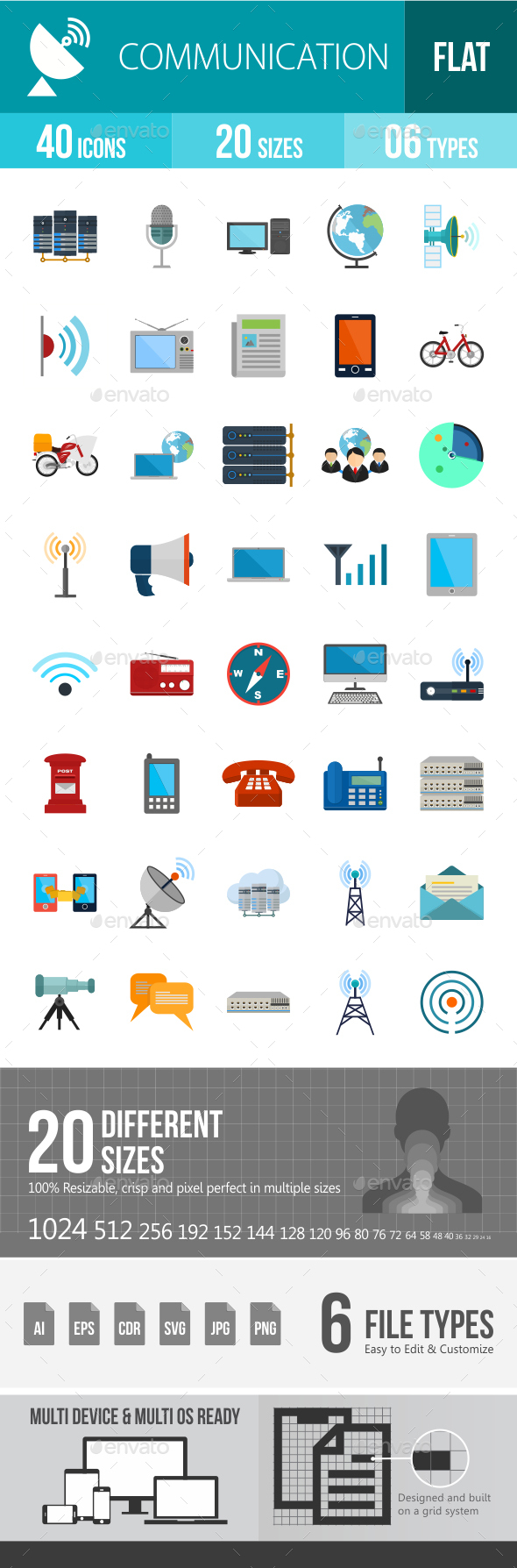 Communication Flat Multicolor Icons - Icons
