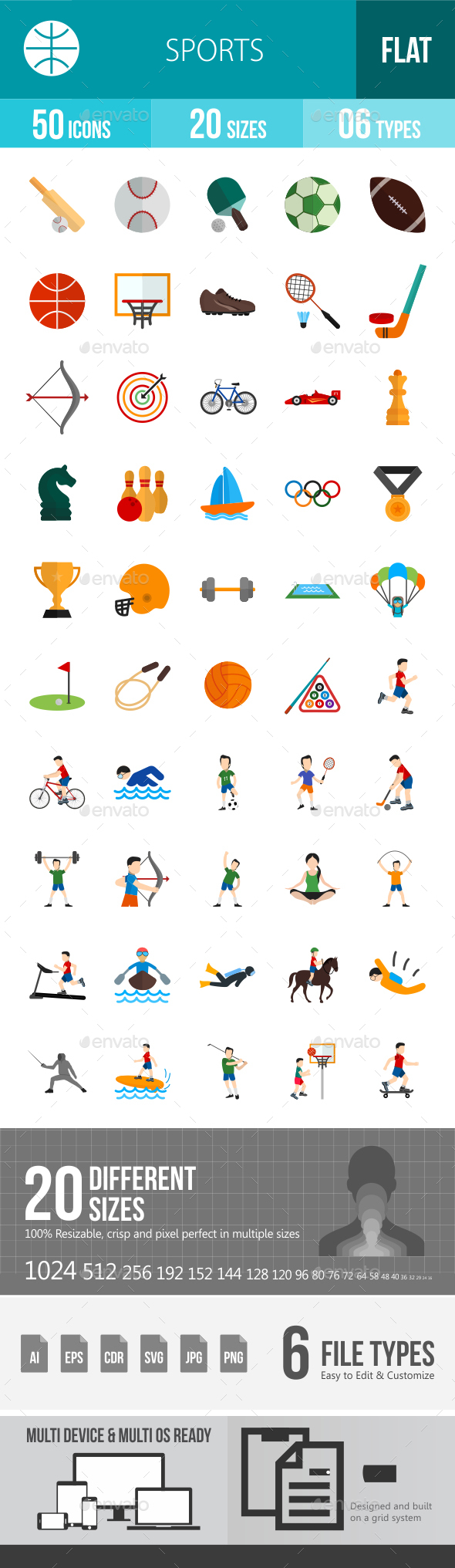 Sports Flat Multicolor Icons - Icons