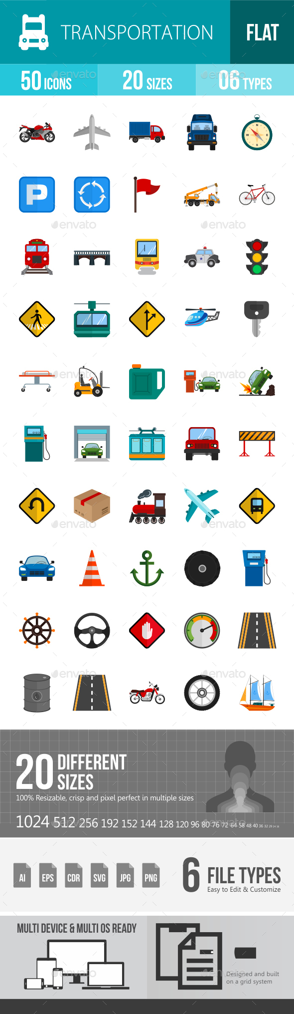 Transport Flat Multicolor Icons - Icons