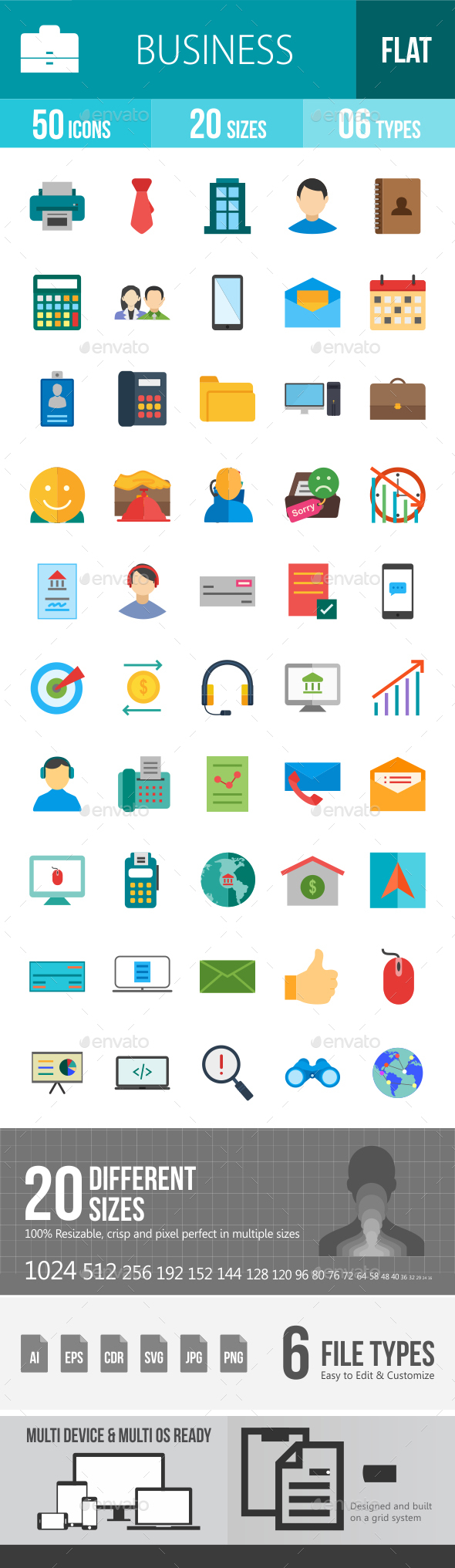 Business Flat Multicolor Icons - Icons