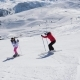 Skier Skiing Down The Hill And Swears At Another Who Is On The Mountain Slope - VideoHive Item for Sale