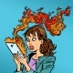 Woman with a Burning Phone. Hot News.