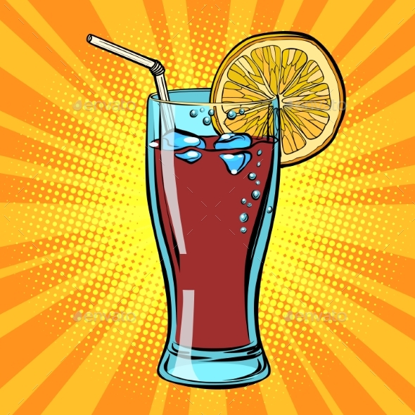 Cola Drink with Lemon - Food Objects