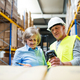 Senior woman manager and man worker working in a warehouse. - PhotoDune Item for Sale