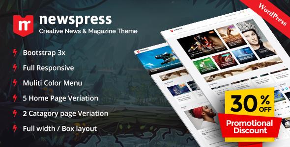 NewsPress - Responsive News / Magazine WordPress Theme - News / Editorial Blog / Magazine
