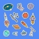 Vector Hand Drawn Space Elements Stickers Set