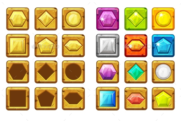 Cartoon Different Shaped Gems - Objects Vectors