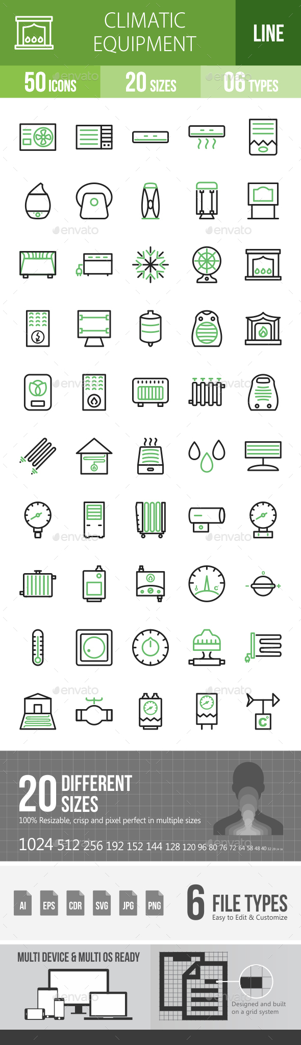 Climatic Equipment Line Green & Black Icons - Icons