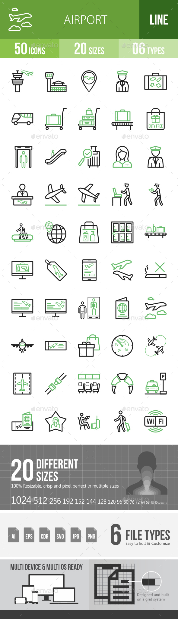 Airport Line Green & Black Icons - Icons