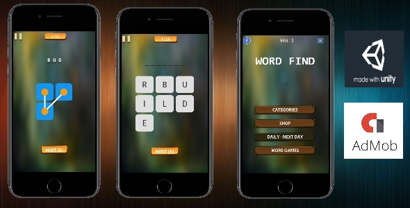 Word Find - ( Unity - Admob - IAP - Android ) Easy Reskin            Nulled