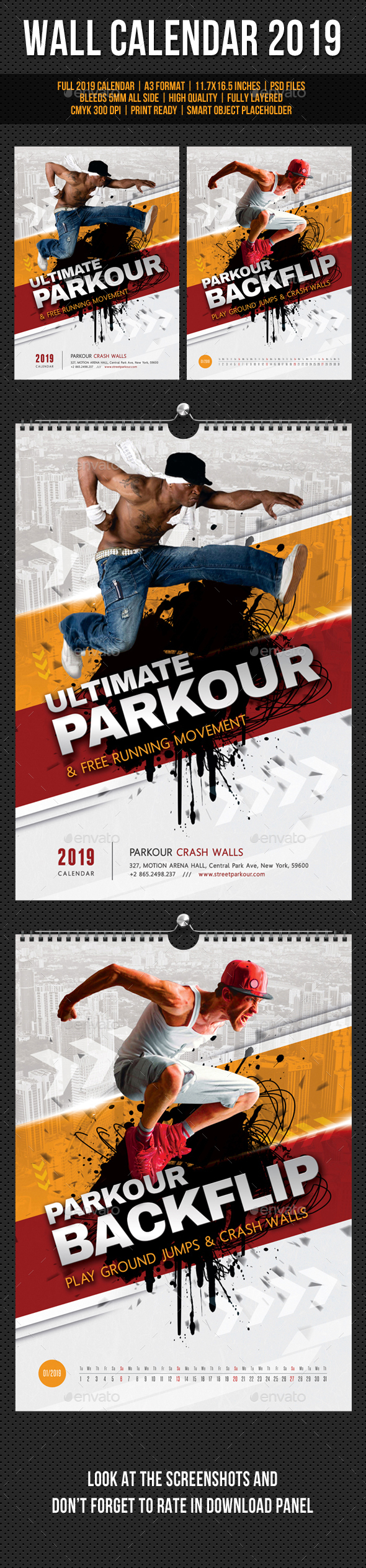 Ultimate Parkour Wall Calendar A3 2019 - Calendars Stationery