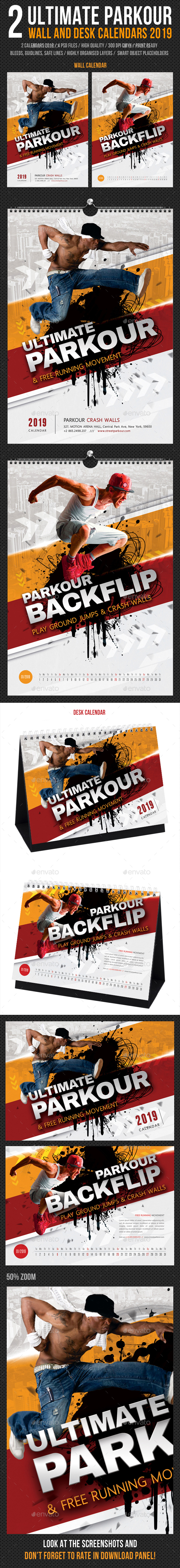 Ultimate Parkour Wall and Desk Calendars 2019 Bundle - Calendars Stationery