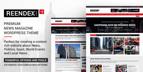 Reendex - Broadcast News Magazine WordPress Theme - News / Editorial Blog / Magazine