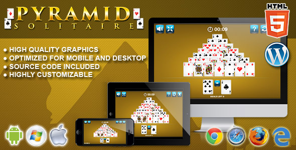 Pyramid Solitaire - HTML5 Solitaire Game - CodeCanyon Item for Sale