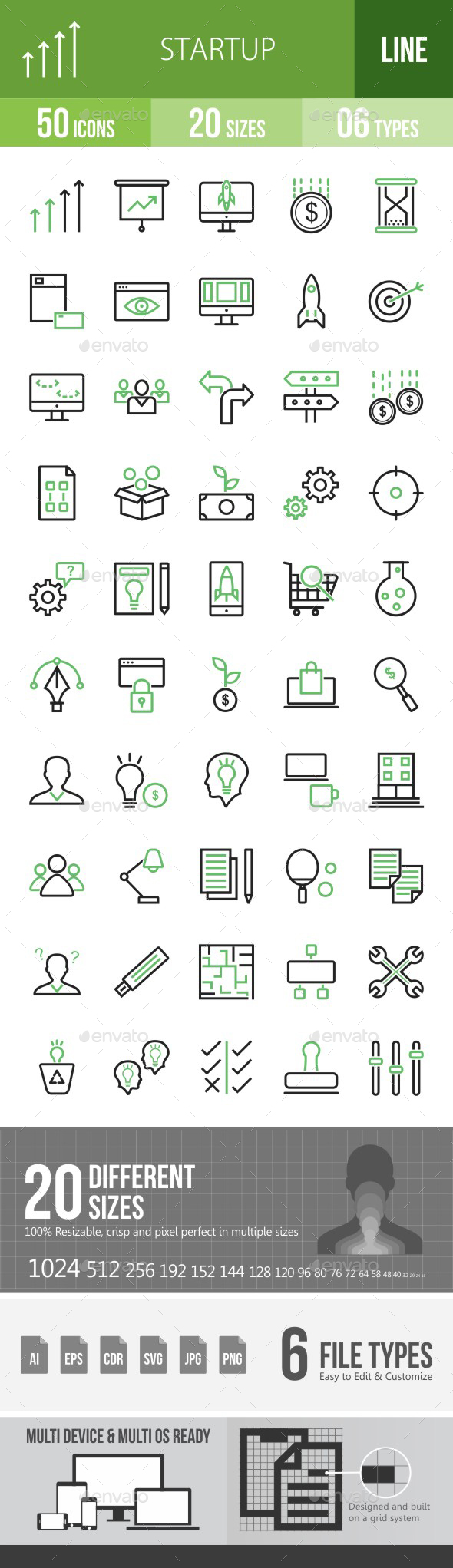 Startup Line Green & Black Icons - Icons