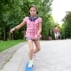 Beautiful Girl in the Park Rides on a Skate - VideoHive Item for Sale