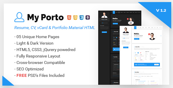 My Porto- Resume and vCard HTML Template - Virtual Business Card Personal
