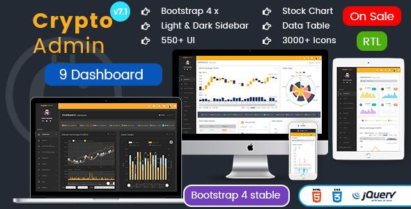 Image of Crypto Admin - Responsive Bootstrap Admin HTML Templates + Bitcoin Dashboards + ICO