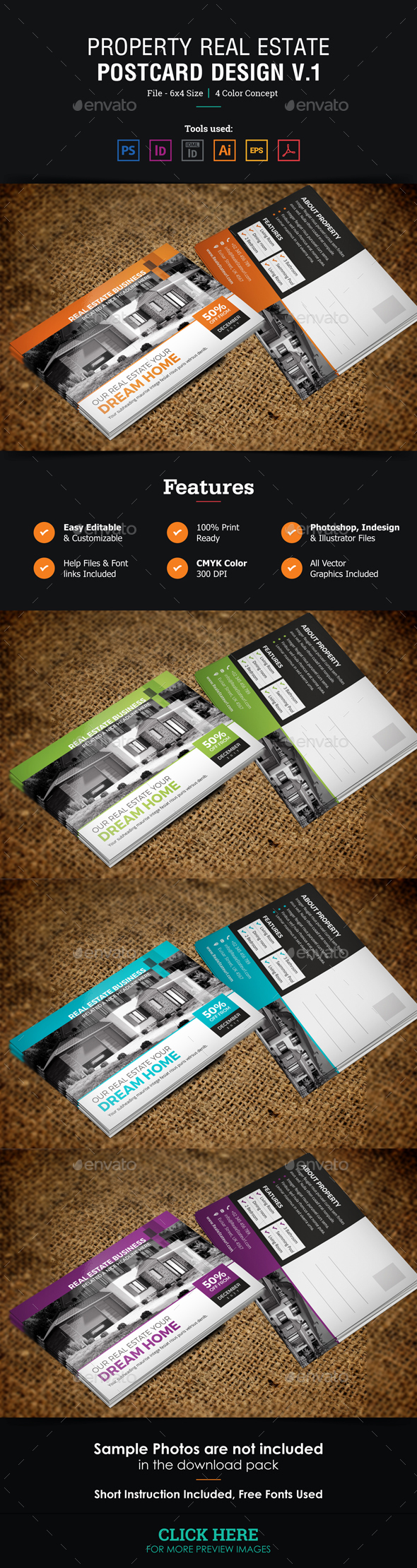 Real Estate Postcard Design v1 - Cards & Invites Print Templates