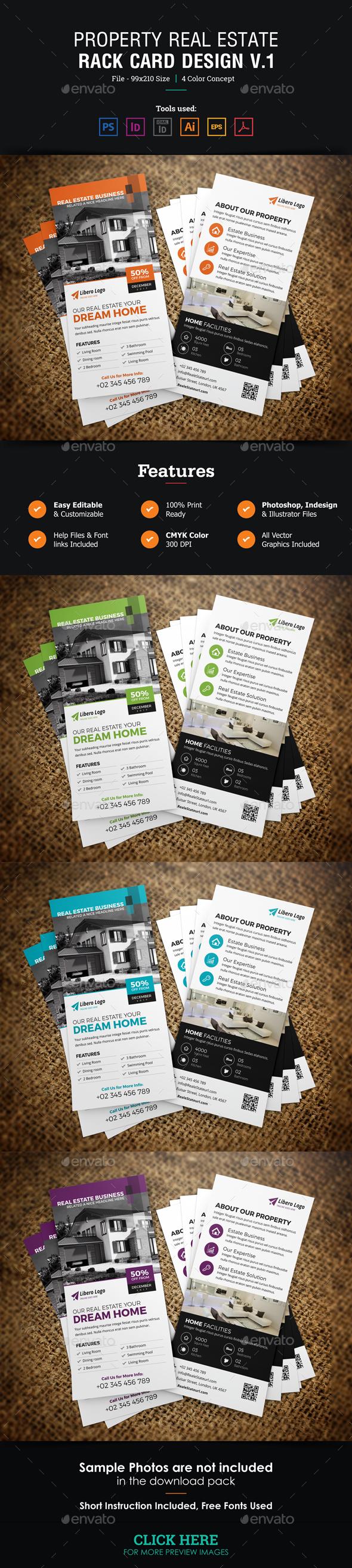 Real Estate Rackcard DL Flyer Design v1 - Cards & Invites Print Templates