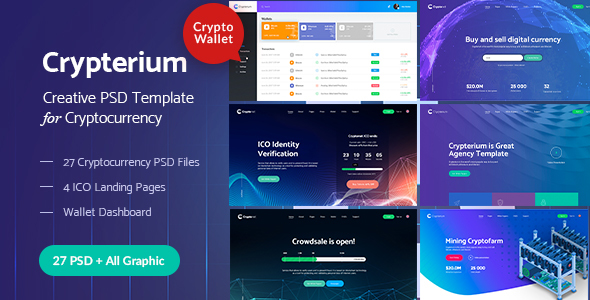 Crypterium - Cryptocurrency & ICO Landing Pages PSD Pack - PSD Templates