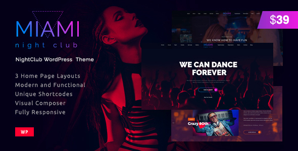 Miami | Disco Night Club WordPress - Nightlife Entertainment