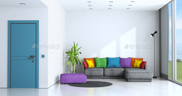 Bright Living Room With Colorful Sofa   Stock Photo   Images