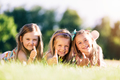 Three little girls showing OK with their hands. - PhotoDune Item for Sale