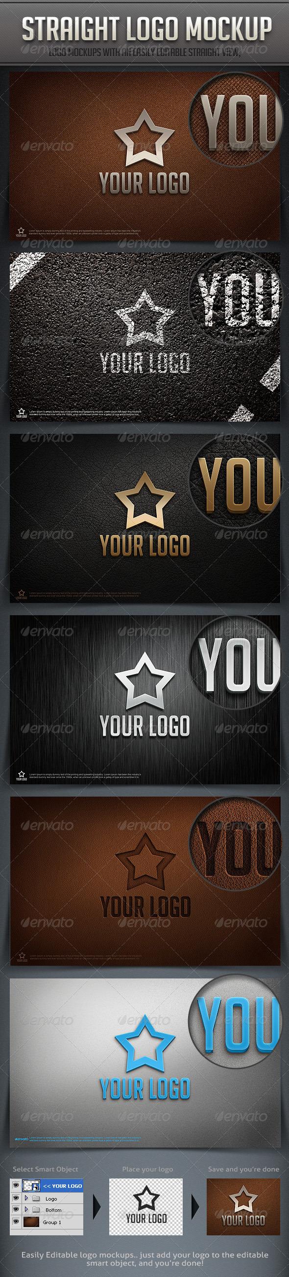 Straight Logo Mockup - Logo Product Mock-Ups