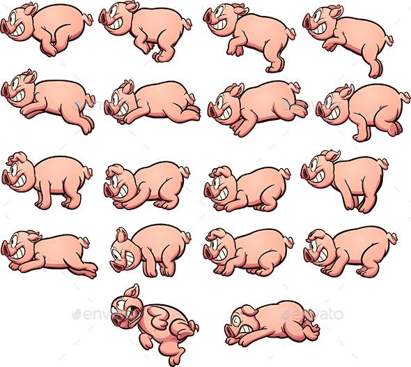 Cartoon Pig - Sprites Game Assets