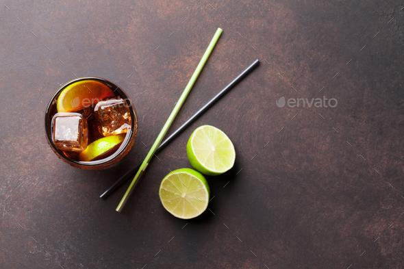 Cuba libre cocktail glass - Stock Photo - Images